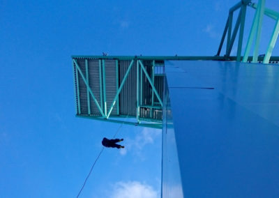 Abseiling from Ruka ski-jumping tower